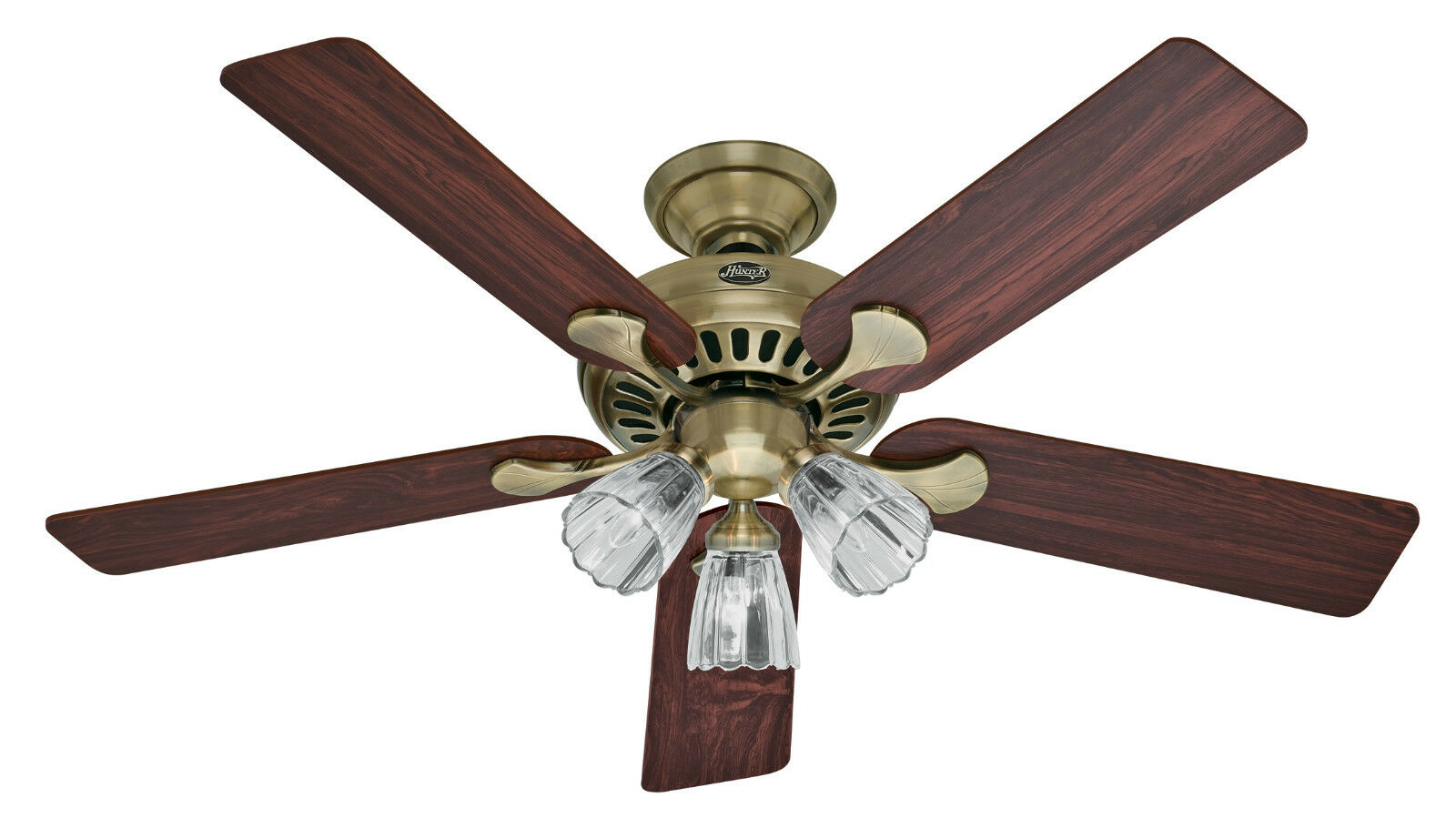 """Hunter 52"""" Summer Breeze Antique Brass Ceiling Fan"""