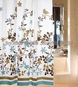 Brown green white blue retro novelty birds shower curtain hooks ebay