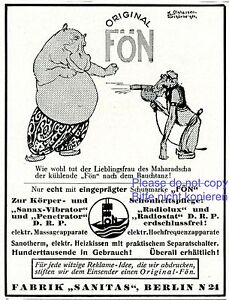 Hairdryer Fon German ad 1925 hippopotamus ape monkey hippo advertising Germany - <span itemprop='availableAtOrFrom'>Waldburg, Deutschland</span> - Rücknahmen akzeptiert - Waldburg, Deutschland