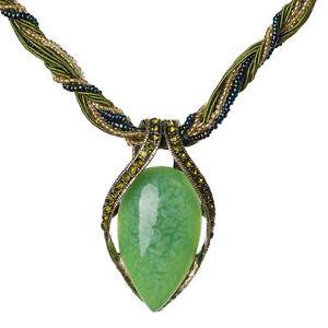 Halskette-Kette-Damen-Bettelkette-Collier-gruen-altgoldfarben-Perlen-Strass