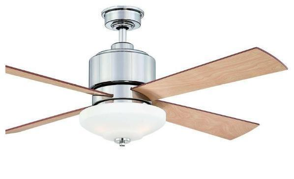 Hampton Bay Alida 52 inch Ceiling Fan with Light Kit Remote Control Nickel