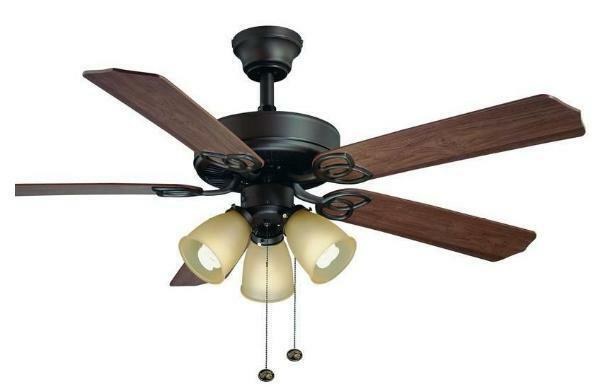 Hampton Bay Brookhurst 52 inch Ceiling Fan with Light Kit Oil Rubbed Bronze