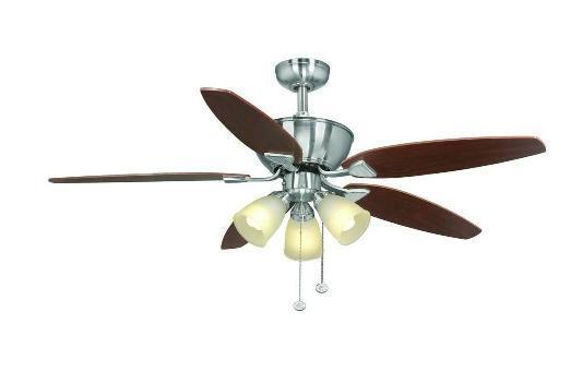 Hampton Bay Carrolton 52 inch Ceiling Fan with Light Kit Brushed Nickel Finish