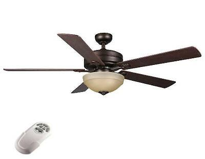 Hampton Bay Cherokee 56 inch Ceiling Fan with Light Kit Remote Control Bronze