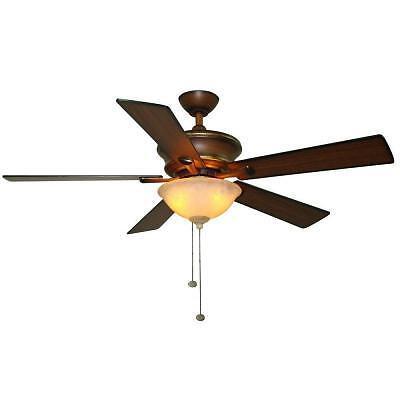 Hampton Bay Edisto 52 inch Ceiling Fan with Light Kit Berre Walnut Finish