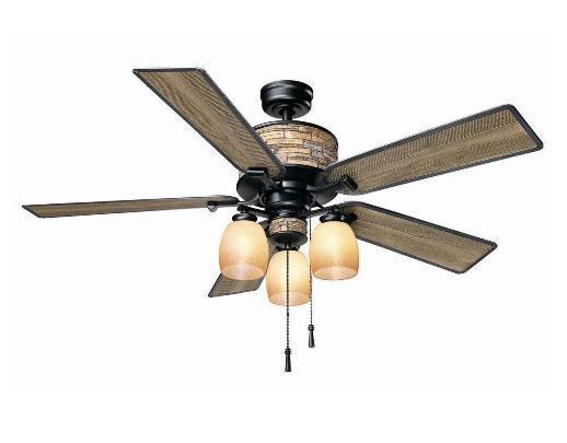 Hampton Bay Ellijay 52 inch Indoor Outdoor Ceiling Fan with Light Kit