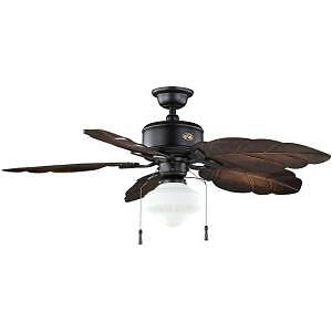 "Hampton Bay Nassau 52"" Natural Iron Indoor Outdoor Ceiling Fan with Leaf Blades"