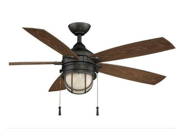 Hampton Bay Seaport 52 inch Indoor Outdoor Ceiling Fan with Light Kit Iron