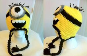 One Eye Minion Despicable Me http://www.ebay.com/itm/Hand-Crochet-Despicable-Me-One-Eye-Minion-Hat-Beanie-Made-to-Order-NEW-/120797927502