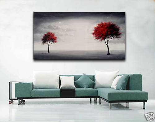 Hand Painted Decor Abstract Contemporary Canvas Wall Art Oil Paintings Red Tree in Art, Direct from the Artist, Paintings | eBay