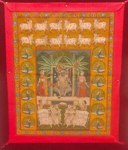 Hand-Painted-Hindu-God-Shrinathji-Miniature-Painting-India-Cloth-Artwork