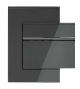 Handleless High Gloss Lacquered Anthracite Grey Kitchen Doors EBay