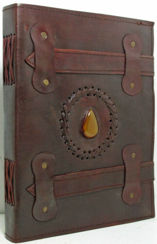 Handmade 8x10 Dual Strap Closure Leather Journal/Sketchbook with Center Stone in Books, Accessories, Blank Diaries & Journals | eBay