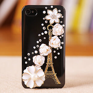 Handmade Black Eiffel Tower Flower crystal Finished Case cover for iPhone 4 MQ05 in Cell Phones & Accessories, Cell Phone Accessories, Cases, Covers & Skins | eBay