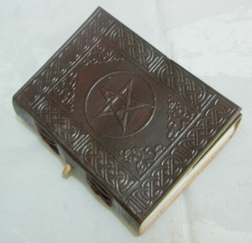 Handmade Leather Bound Journal Blank Diary Celtic Pentagram Book of Shadow Wicca in Books, Accessories, Blank Diaries & Journals   eBay