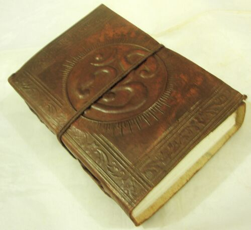 Handmade Leather Bound Journal OM AUM Embossed Blank Diary Book Writing Notebook in Books, Accessories, Blank Diaries & Journals | eBay