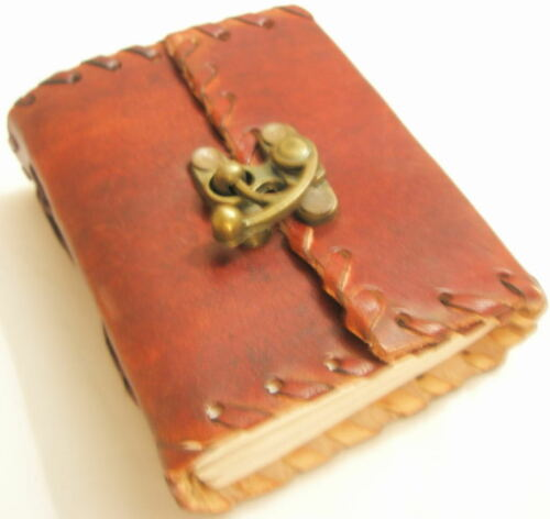 Handmade Leather mini Journal Pocket Diary Brass Clasp Blank Writing Notebook in Books, Accessories, Blank Diaries & Journals | eBay