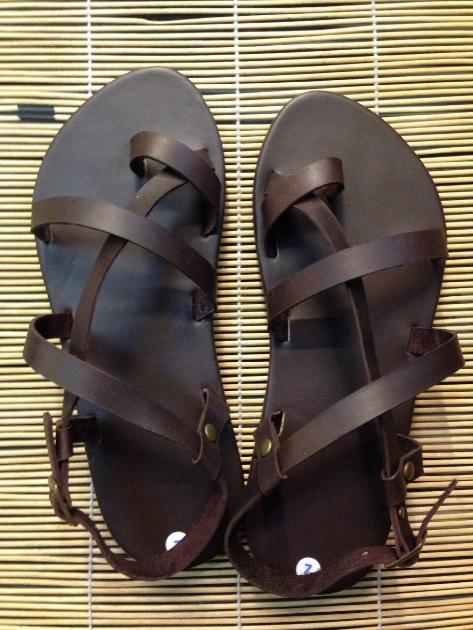 Vtg 70s nos mens 12 leather hippie sandals w by byJingoVintage |Hippie Mens Leather Sandals