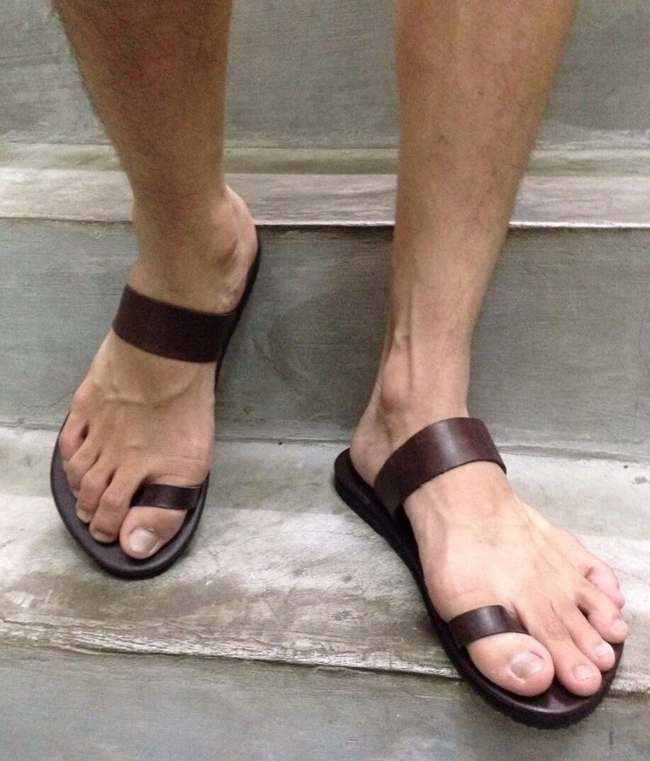 Vintage Floral Tooled Leather Ring Toe Sandals Hippie Hand |Hippie Mens Leather Sandals