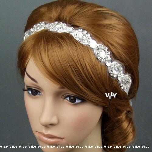 Crystal Bridal Wedding Ribbon Tiara Halo Hair Band Headband