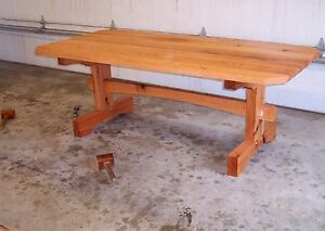 handmade rustic red oak forrest salvaged timber frame table kitchen dining room