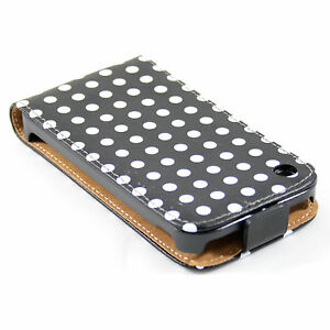 Handy-tasche-iPhone-3G-3GS-gepunktet-flip-case-cover-etui-huelle-Retro