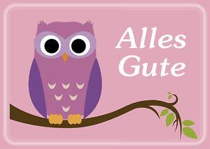 happy eule 2 postkarten eule pink alles gute kinder owl gl ckwunsch geburtstag ebay. Black Bedroom Furniture Sets. Home Design Ideas