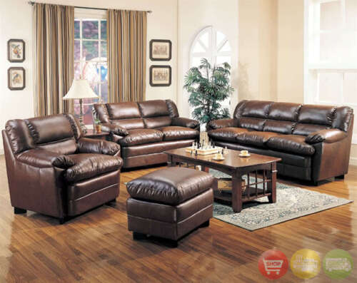 Harper sofa love seat chair casual 3 piece bonded for Casual living room furniture