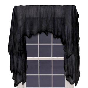 Haunted halloween gothic black gauze window drape net for Gothic net curtains
