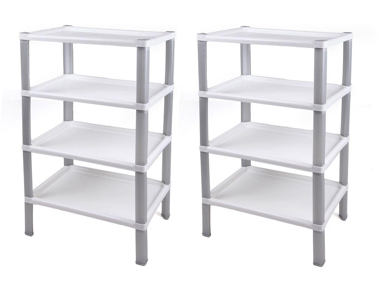 haushaltregal badregal kinderzimmerregal kunststoffregal scaf wei 2 st ck ebay. Black Bedroom Furniture Sets. Home Design Ideas