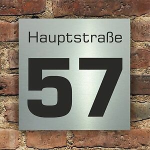 hausnummer hausnummernschild im edelstahl design mit. Black Bedroom Furniture Sets. Home Design Ideas