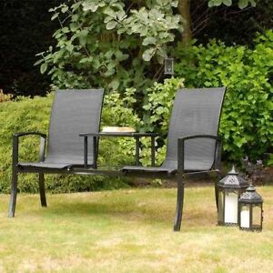 Havana duo companion garden love seat by suntime black or for Garden love seat uk