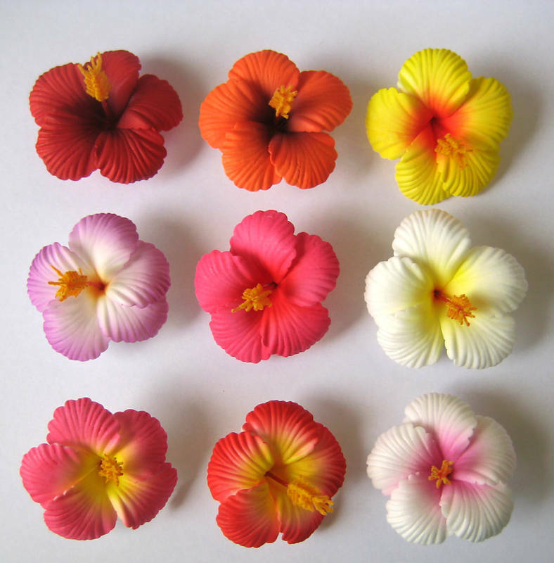 Tropical Hair Clip Pink Wedding Bridal Silk Flower Hawaiian Hawaii Large Prom 3