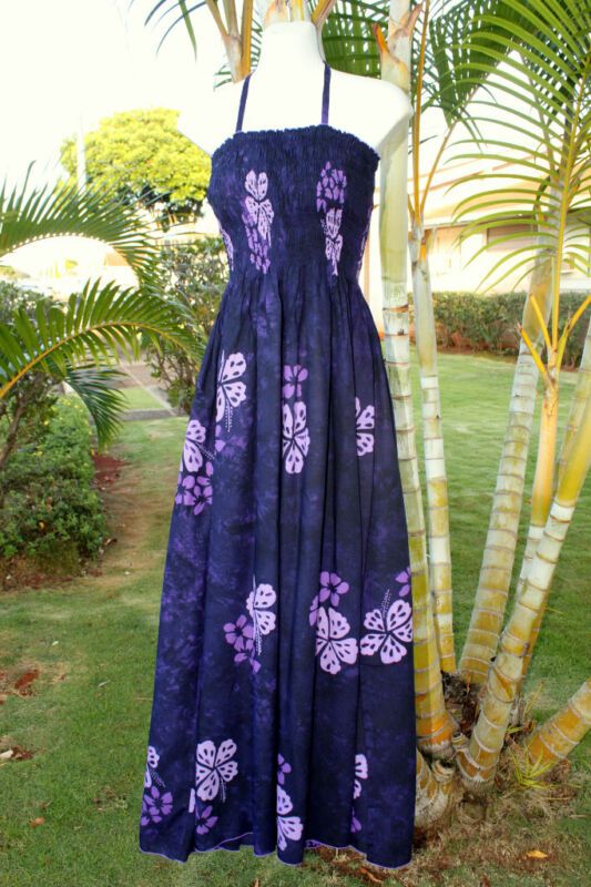 Hawaiian Hawaii Tropical Hibiscus Florals Luau Cruise Long One Sz Dress Purple