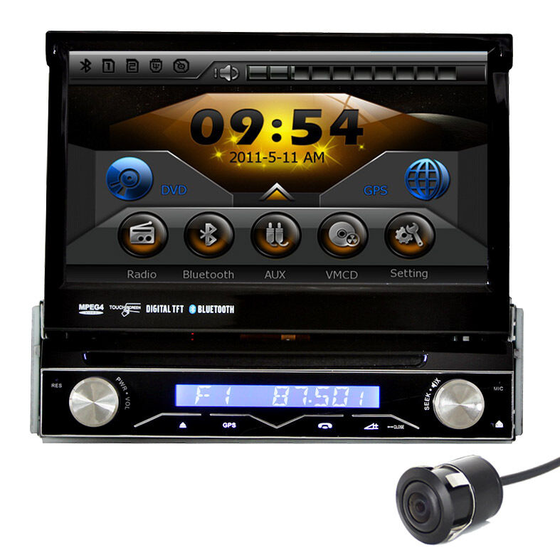 Head Unit 1 DIN in Dash Car GPS Navigation DVD Player Radio Stereo Free Camera