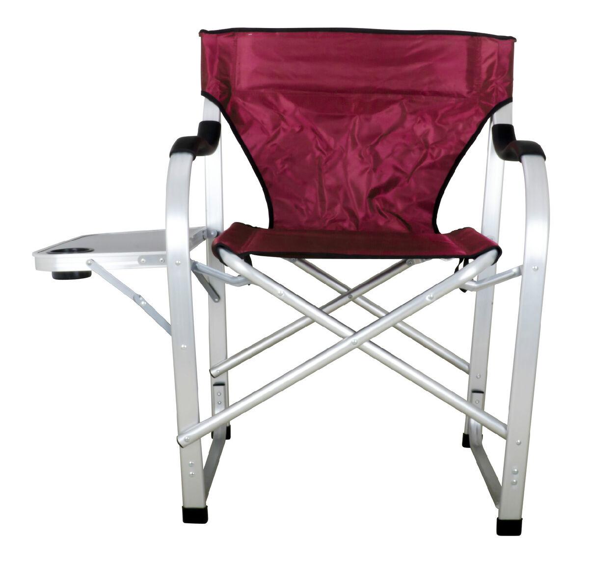 Heavy Duty Camping Outdoor Director Chair Big Boy Chair w Table SL1215 Burgundy