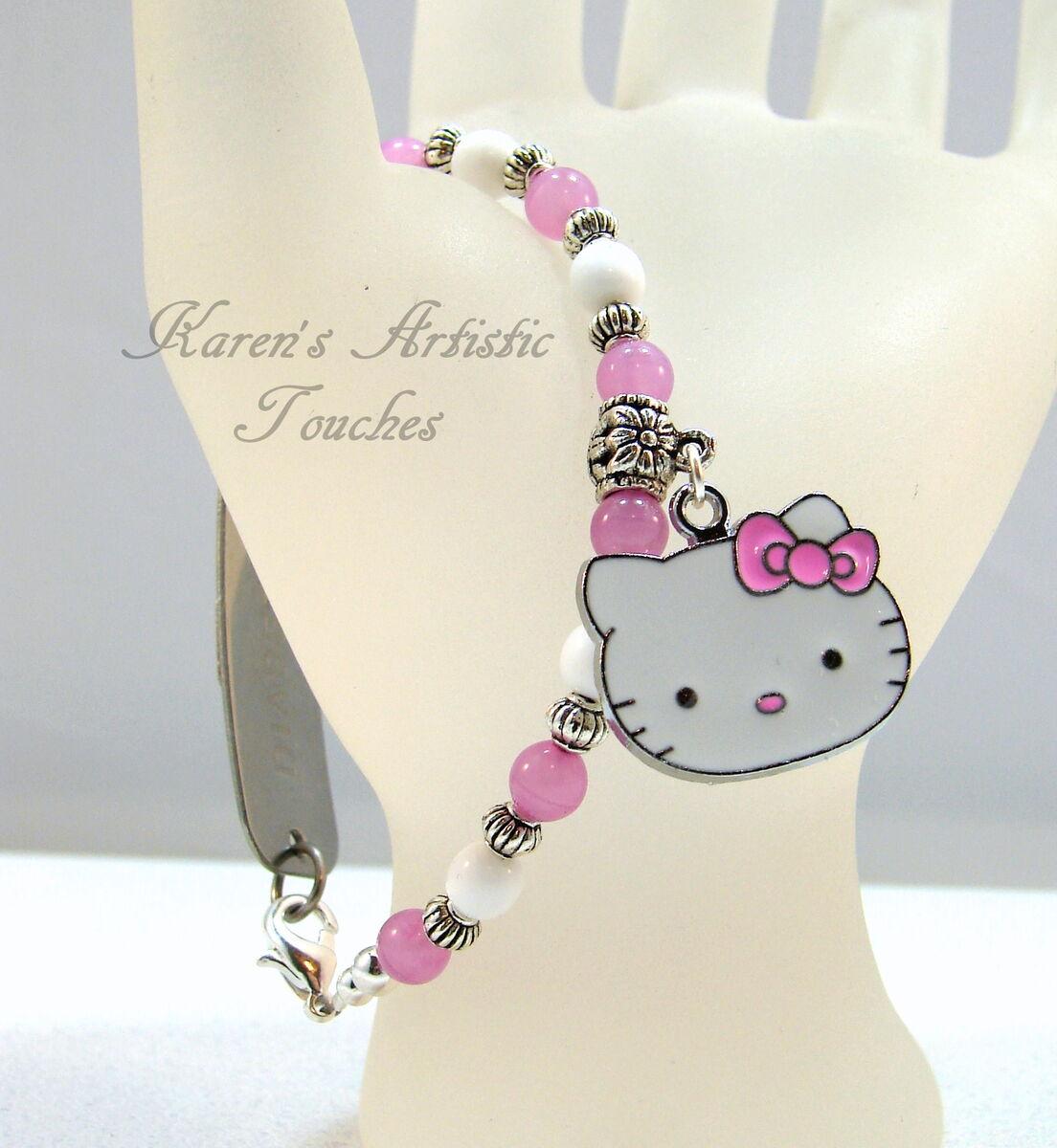 Hello Kitty Charm Pink White Beaded Medical ID Bracelet