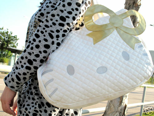 Hello Kitty white leather-like tote bag purse BIG