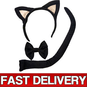 Hen-Party-Cat-Tail-Ears-Bow-Tie-Set-Black-Fancy-Dress-Costume-Accessory