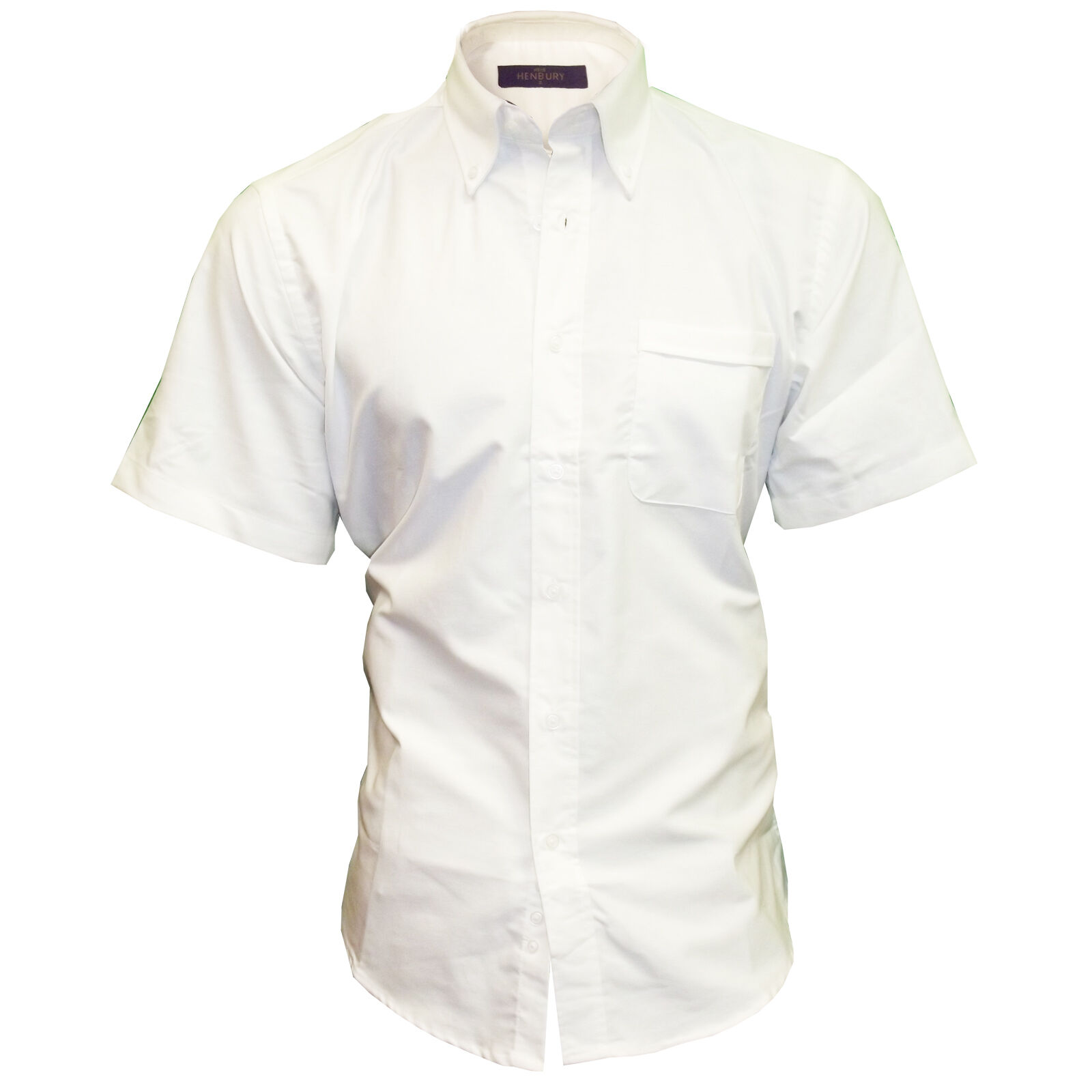 Henbury Men 39 S Short Sleeve Classic Oxford Shirt Wrinkle