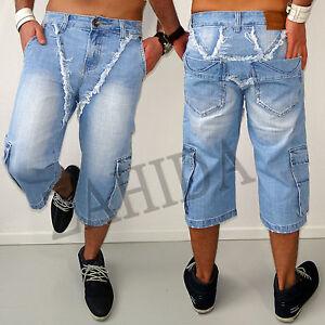 herren capri jeans kurze hose bermuda 3 4 sommer wei short strand baumwolle neu ebay. Black Bedroom Furniture Sets. Home Design Ideas