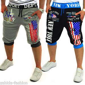 herren damen shorts capri jogginghose trainingshose kurze. Black Bedroom Furniture Sets. Home Design Ideas