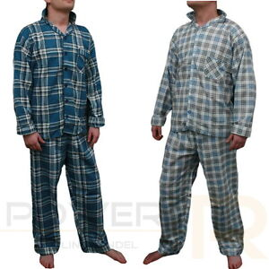 Herren-Flanell-Schlafanzug-Pyjama-100-Baumwolle-in-Gr-S-M-L-XL-XXL-NEU-OVP