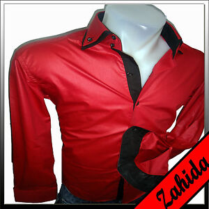 herren hemd herrenhemd schwarz rot langarm leder lack wet. Black Bedroom Furniture Sets. Home Design Ideas
