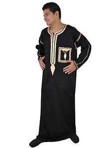 herren kaftan abaya araber faschingskost m mit stick bord ren schwarz kam00207 ebay. Black Bedroom Furniture Sets. Home Design Ideas
