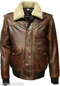 herren lederjacke redpoint echt leder braun fell kragen flieger bomber jacke ebay. Black Bedroom Furniture Sets. Home Design Ideas