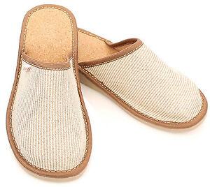 herren leinen leder kork hausschuhe pantoffeln pantoletten. Black Bedroom Furniture Sets. Home Design Ideas