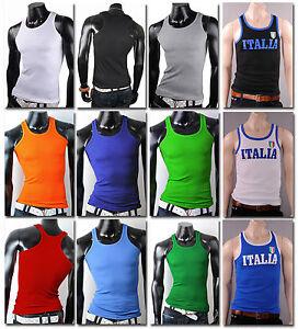 Herren-Muskelshirt-Top-Achsel-Shirt-Tanktop-T-Shirt-Unterhemd-achselshirt