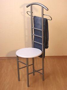 herrendiener mit sitz garderobe stummer diener stuhl nu baum weiss wei buche ebay. Black Bedroom Furniture Sets. Home Design Ideas