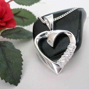 Herz-Anhaenger-Kette-Echt-Silber-Damenschmuck-Herzkette-Halskette-Damen-Kette-neu